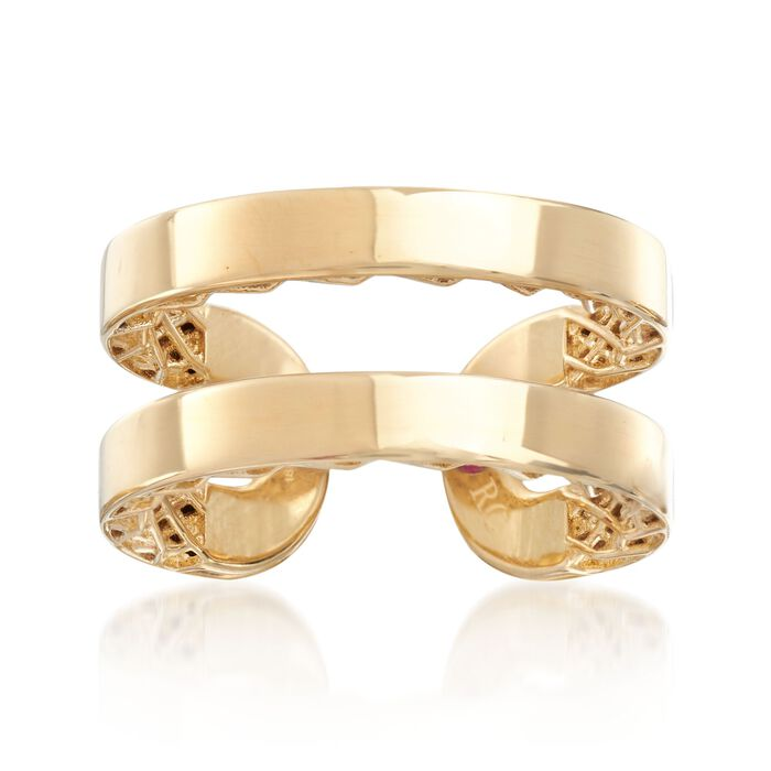 """Roberto Coin """"Symphony Golden Gate"""" 18kt Yellow Gold Double Row Ring. Size 7"""
