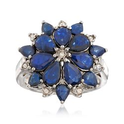 4.20 ct. t.w. Sapphire and .12 ct. t.w. Diamond Flower Ring in Sterling Silver, , default