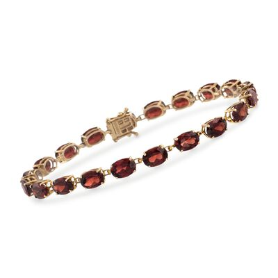 20.00 ct. t.w. Oval Garnet Tennis Bracelet in 14kt Yellow Gold, , default
