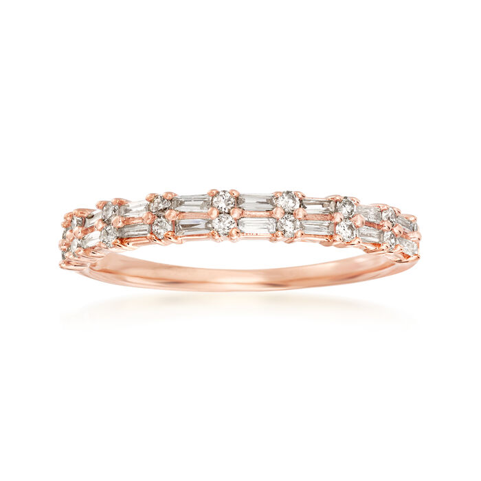 .30 ct. t.w. Round and Rectangular Baguette Diamond Ring in 14kt Rose Gold. Size 6