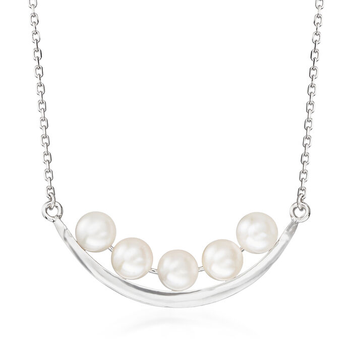 5.5-6mm Cultured Pearl Curved Bar Necklace in Sterling Silver