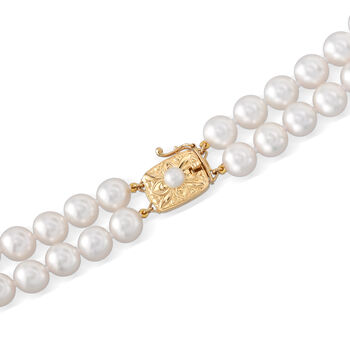 Mikimoto 7-9mm A1 Akoya Pearl Two-Strand Necklace with 18kt Yellow Gold. 17.5""