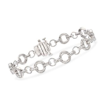"1.00 ct. t.w. Diamond Circle Link Bracelet in Sterling Silver. 8"", , default"