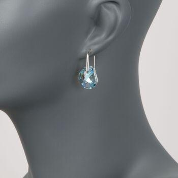 """Swarovski Crystal """"Galet"""" Light Blue Crystal Drop Earrings in Silvertone, , default"""