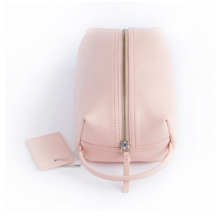 Royce Blush Pink Leather Compact Toiletry Bag, , default