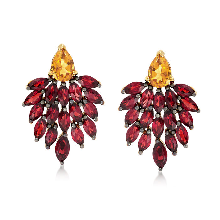5.00 ct. t.w. Garnet and 1.50 ct. t.w. Citrine Drop Earrings in 18kt Gold Over Sterling, , default