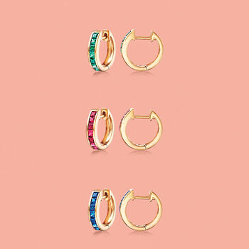 ".80 ct. t.w. Square-Cut Sapphire Huggie Hoop Earrings in 14kt Yellow Gold. 3/8"", , default"
