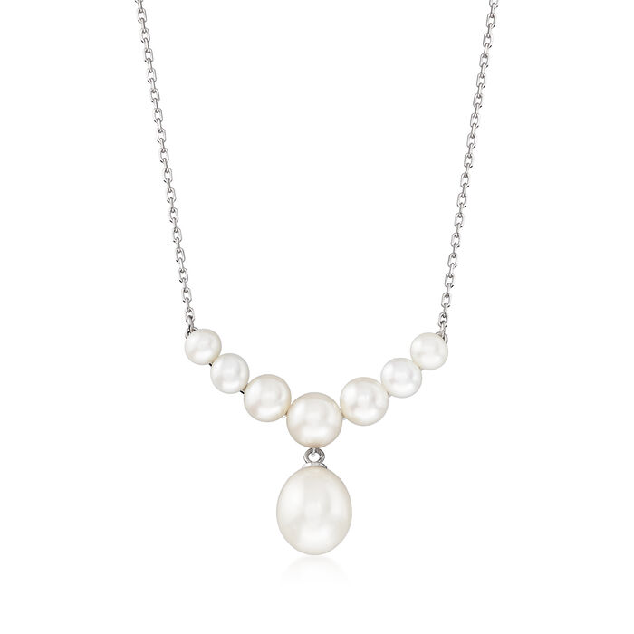 4-9.5mm Cultured Pearl Drop Necklace in Sterling Silver, , default