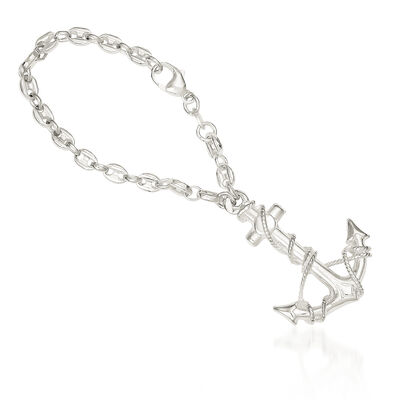 Sterling Silver  Anchor Key Ring, , default