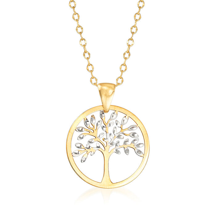Italian 18kt Two-Tone Gold Cut-Out Tree of Life Pendant Necklace