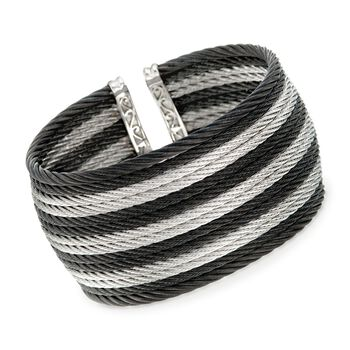 """ALOR """"Noir"""" Two-Tone Stainless Steel Cable Cuff Bracelet With 18kt Yellow Gold. 7"""", , default"""