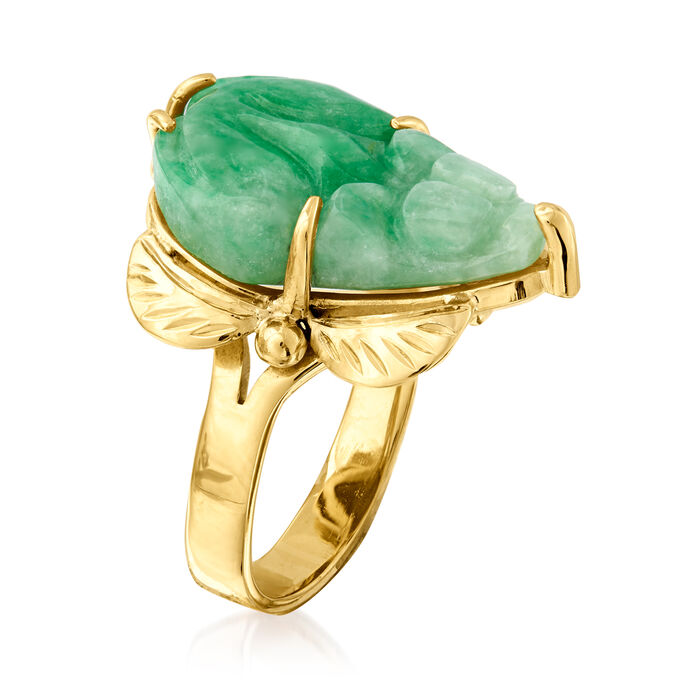 C. 1960 Vintage Jade Leaf Ring in 14kt Yellow Gold