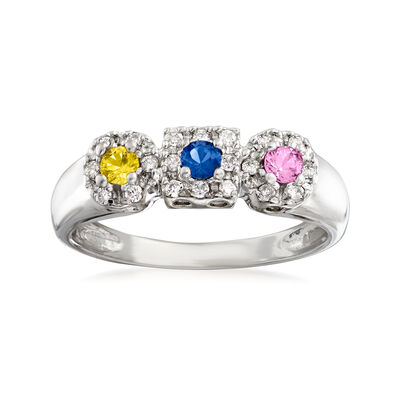 C. 1990 Vintage .30 ct. t.w. Multicolored Sapphire and .15 ct. t.w. Diamond Ring in 14kt White Gold, , default