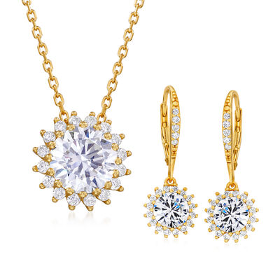 5.20 ct. t.w. CZ Jewelry Set: Flower Drop Earrings and Necklace in 18kt Gold Over Sterling