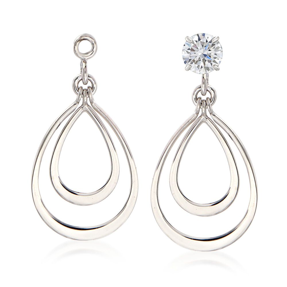 14kt White Gold Double Open Drop Earring Jackets Default