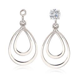 14kt White Gold Double Open Drop Earring Jackets, , default