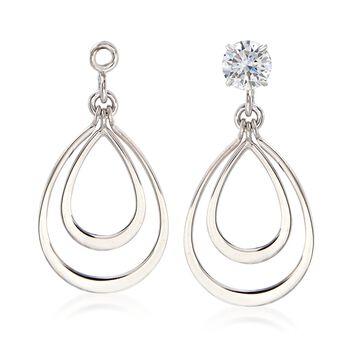 14kt White Gold Double Open Drop Earring Jackets, , default