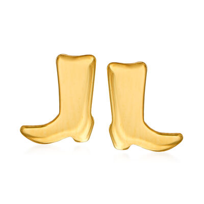 14kt Yellow Gold Cowboy Boot Stud Earrings
