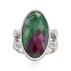 16.00 Carat Ruby-In-Zoisite and .60 ct. t.w. White Zircon Ring in Sterling Silver, , default
