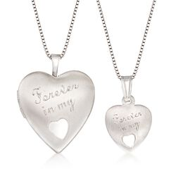 """Sterling Silver Mother/Daughter Jewelry Set: Two """"Forever in My Heart"""" Necklaces. 14""""-18"""", , default"""