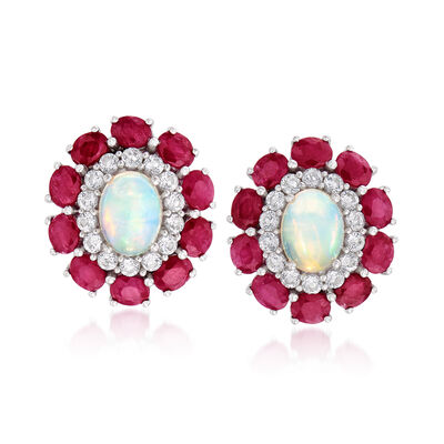Opal, 4.00 ct. t.w. Ruby and .80 ct. t.w. White Topaz Stud Earrings in Sterling Silver, , default