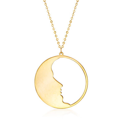 Italian 14kt Yellow Gold Man-In-The-Moon Pendant Necklace, , default