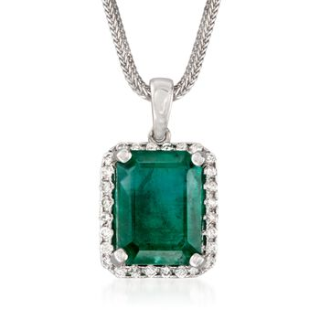 "7.95 Carat Emerald and .40 ct. t.w. Diamond Pendant Necklace in 14kt White Gold. 16"", , default"