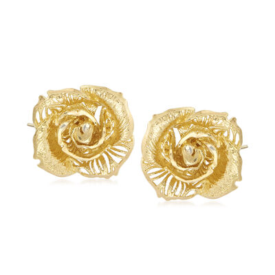 Italian 14kt Yellow Gold Rose Stud Earrings