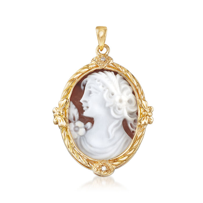 Carved Shell Cameo Pendant with Diamond Accent in 18kt Yellow Gold , , default