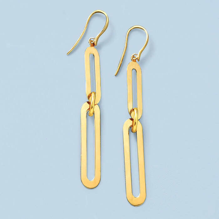 Italian 14kt Yellow Gold Paper Clip Link Drop Earrings