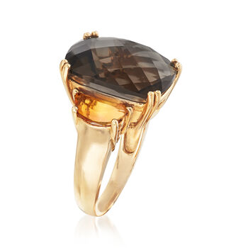 C. 1990 Vintage 9.15 Carat Smoky Quartz and 1.20 ct. t.w. Citrine Ring in 14kt Yellow Gold. Size 7, , default