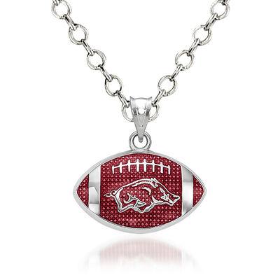 "Sterling Silver University of Arkansas Hog Enameled Football Pendant Necklace. 18"", , default"