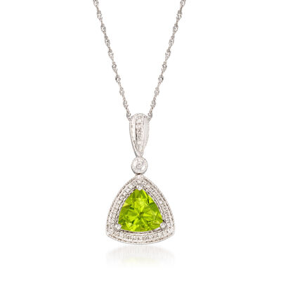 1.70 Carat Peridot and .11 ct. t.w. Diamond Pendant Necklace in 14kt White Gold, , default