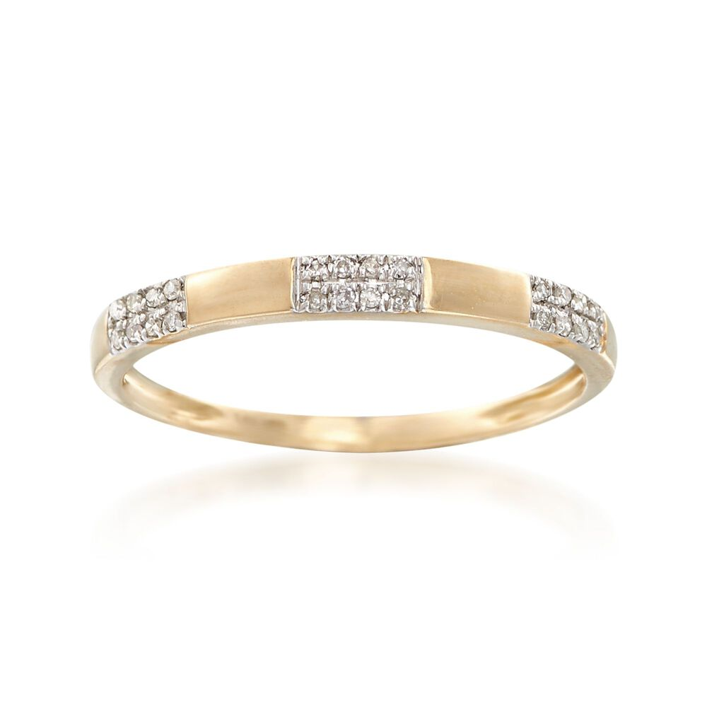 5641b8b64df39 14kt Yellow Gold Stacking Ring with Diamond Accents