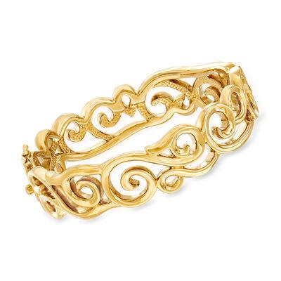 14kt Yellow Gold Cut-Out Filigree Bangle Bracelet, , default