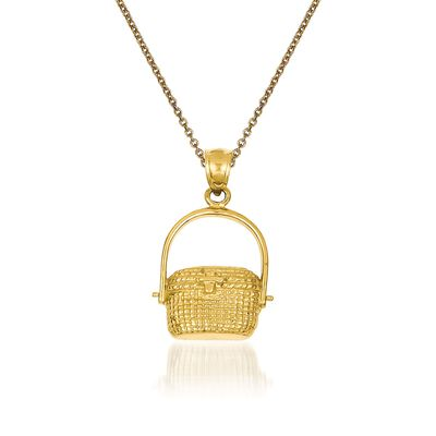 14kt Yellow Gold Nantucket Basket Pendant Necklace