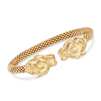 Italian Double Panther Head Cuff Bracelet with Ruby Accents in 18kt Yellow Gold Over Sterling, , default