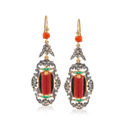 C. 1980 Vintage Multi-Gem and .35 ct. t.w. Diamond Drop Earrings in Sterling Silver and 14kt Gold Over Sterling