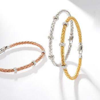 "Simon G. .32 ct. t.w. Diamond Three-Station Woven Bangle Bracelet in 18kt White Gold. 7"""