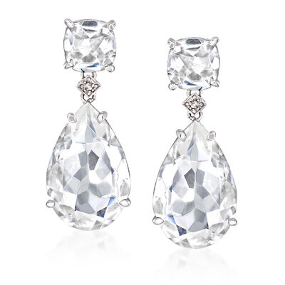 Rock Quartz Teardrop Earrings with Diamond Accents in Sterling Silver