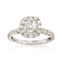 Henri Daussi 1.41 ct. t.w. Diamond Halo Engagement Ring in 18kt White Gold, , default
