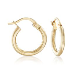 "Italian 2mm 18kt Yellow Gold Petite Hoop Earrings. 5/8"", , default"