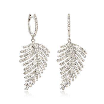 1.50 ct. t.w. Diamond Feather Drop Earrings in 14kt White Gold , , default