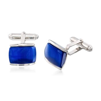 Rectangular Blue Glass Cuff Links in Sterling Silver, , default