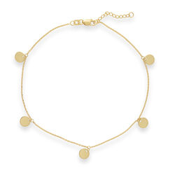 14kt Yellow Gold Five Piece Disc Anklet, , default