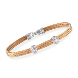 "ALOR ""Classique"" Diamond Double-Station Yellow Cable Bracelet With 18kt White Gold. 7"", , default"