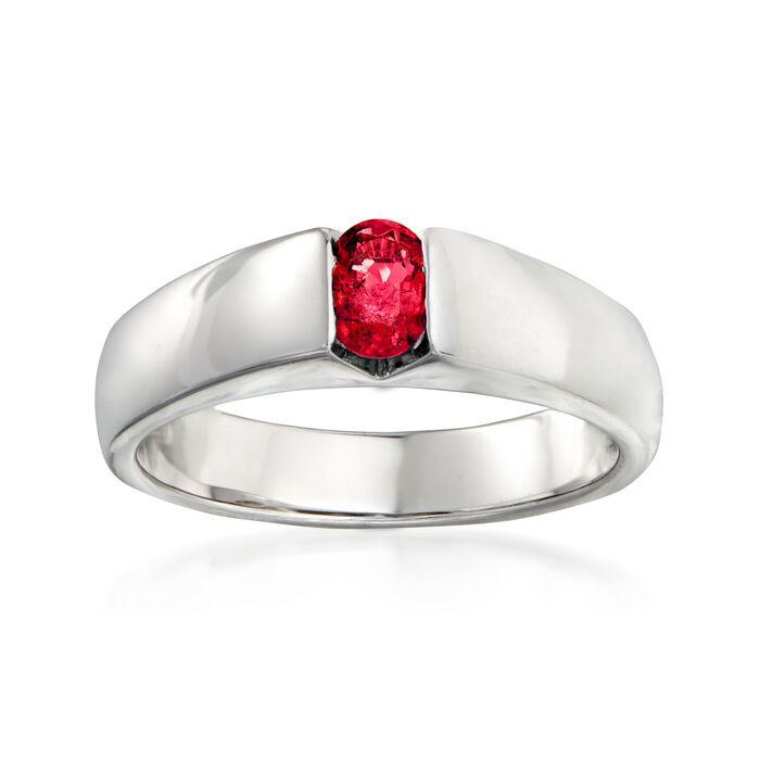C. 1980 Vintage .40 Carat Ruby Ring in 18kt White Gold. Size 6.75