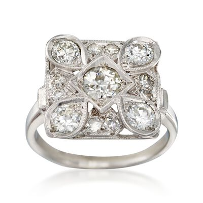 C. 1990 Vintage 1.10 ct. t.w. Diamond Square-Top Ring in 14kt White Gold