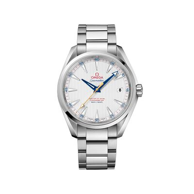 Omega Seamaster Aqua Terra Men's 41.5mm Stainless Steel Watch With Silver, Red and Blue Dial, , default