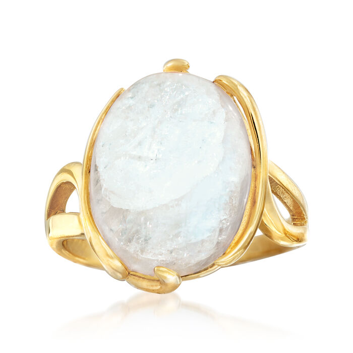Moonstone Twisted Ring in 18kt Gold Over Sterling